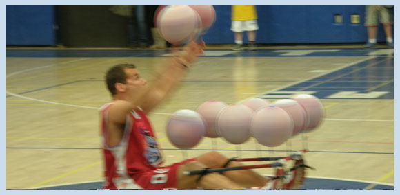 Ten Basketballs Spinning